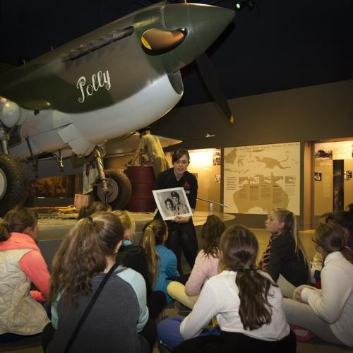Students participating in education program at War Memorial